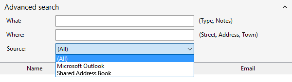 Address Book window advanced options section
