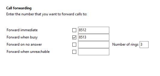 Call settings Call forwarding tab