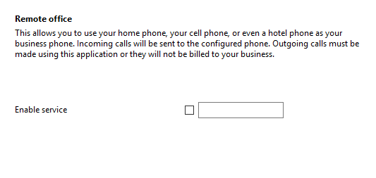 Call settings Remote office tab