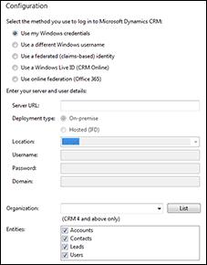 Microsoft Dynamics CRM integration configuration screen