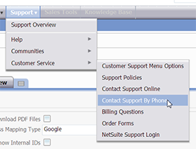 Netsuite Contact Support By Phone option