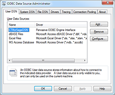 ODBC Data Source Administrator window