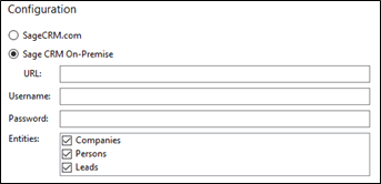 Sage CRM integration configuration screen