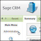 Sage CRM preferences window