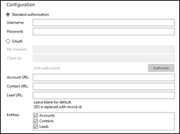 Salesforce CRM integration configuration screen
