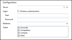 Infor CRM integration configuration screen