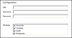 Sugar CRM integration configuration screen